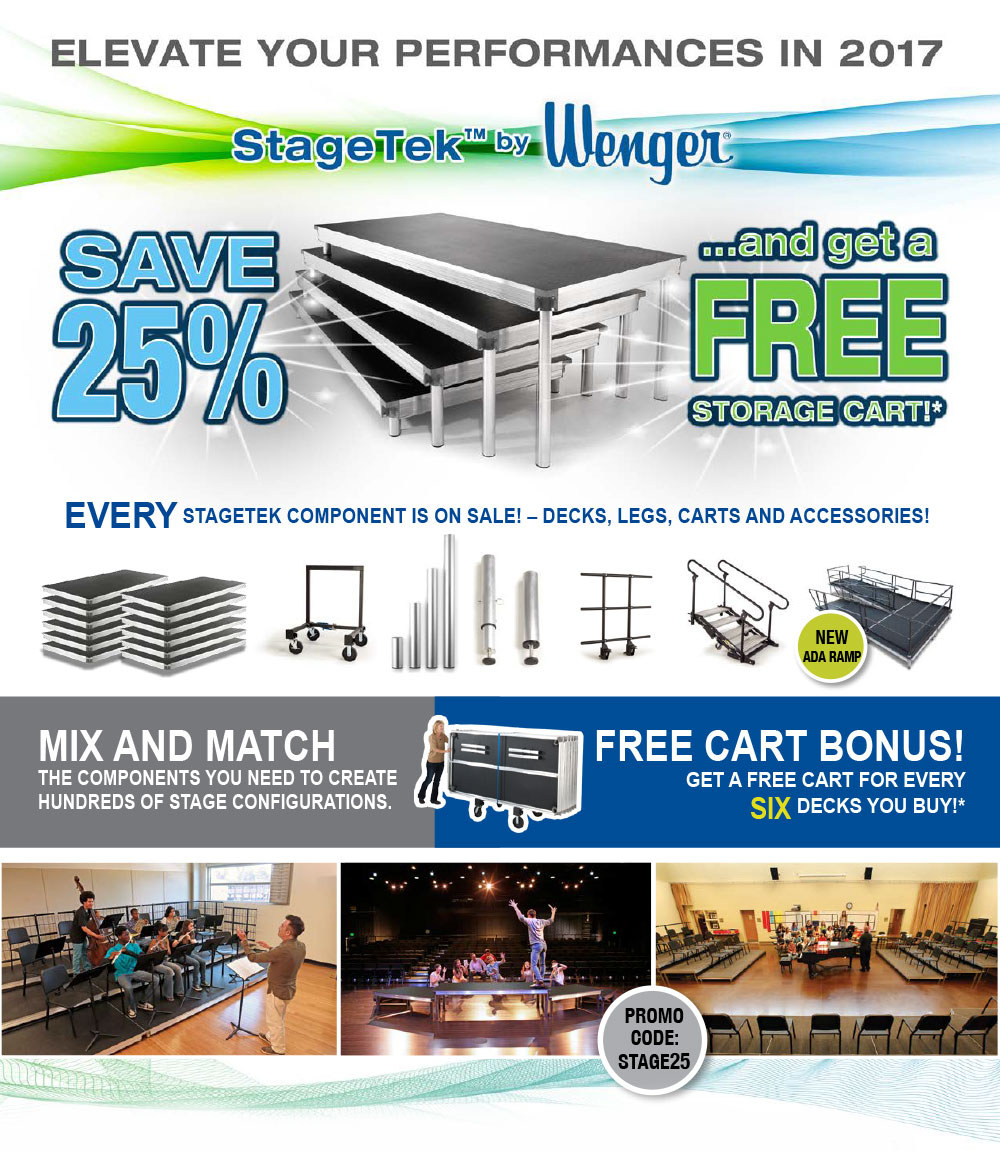 EVERY STAGETEK COMPONENT IS ON SALE! – DECKS, LEGS, CARTS AND ACCESSORIES!