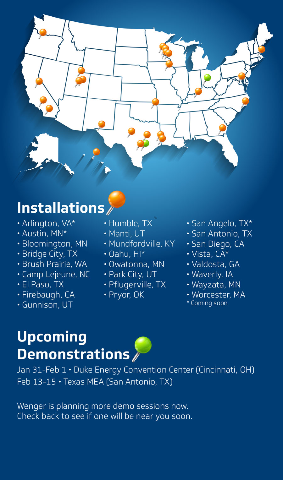 Installations and Demonstrations Map