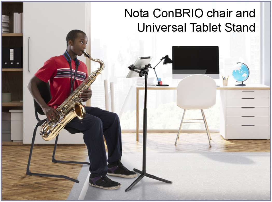 Nota ConBRIO chair and Universal Tablet Stand